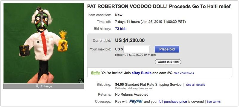 PAT ROBERTSON VOODOO DOLL! Proceeds Go To Haiti relief - eBay (item 190365539998 end time Jan-26-10 11_00_30 PST)